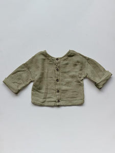 THE SIMPLE FOLK _ THE BUTTON BACK TOP - SAGE