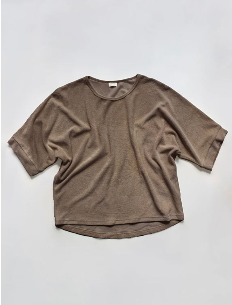PRE - ORDER OVERSIZED TERRY TOP  WOMEN'S - WALNUT