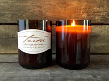 Load image into Gallery viewer, TRIM WINE BOTTLE SOY CANDLES - VANILLA MUSK