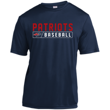 Load image into Gallery viewer, Patriots Baseball Bar Logo (red) Youth Moisture-Wicking T-Shirt