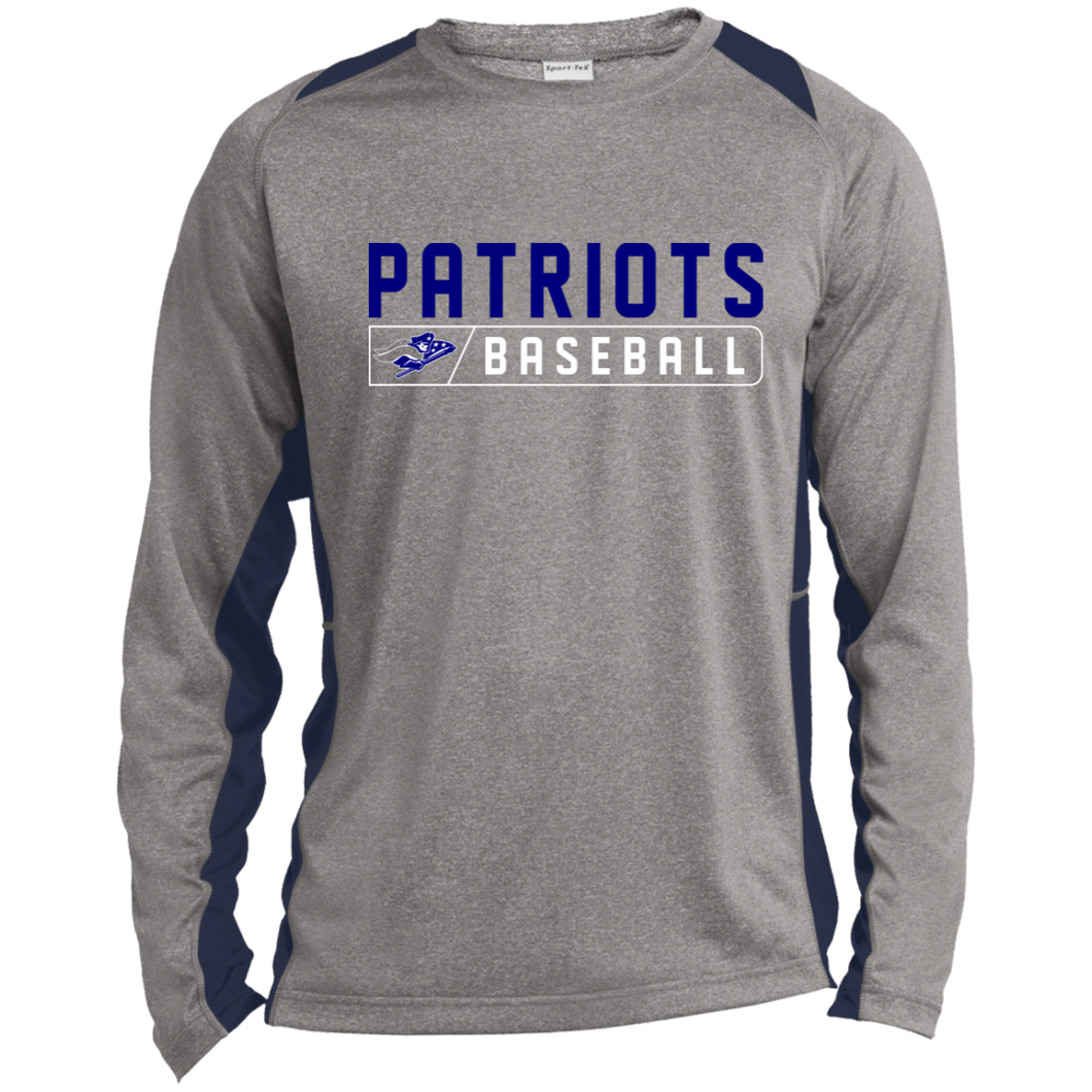 Patriots Baseball Bar Logo (blue) Long Sleeve Heather Colorblock Poly T-Shirt