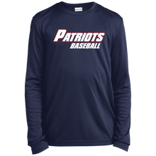 Load image into Gallery viewer, Patriots Baseball WM Youth Long Sleeve Moisture-Wicking T-Shirt