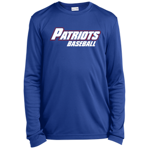 Patriots Baseball WM Youth Long Sleeve Moisture-Wicking T-Shirt