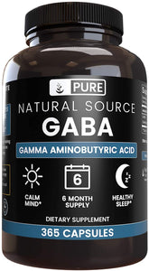 Pure Organic Natural Source GABA - 365 Capsules