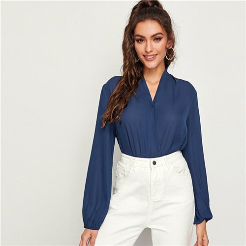 Navy V-neck Top Blouse
