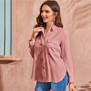 Pink Flap Pockets Shirt