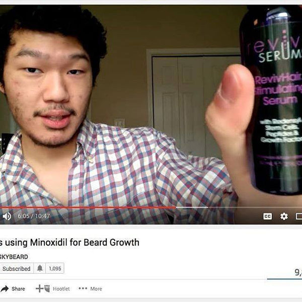 Vlogger evaluates RevivHair Stimulating Serum for his beard area