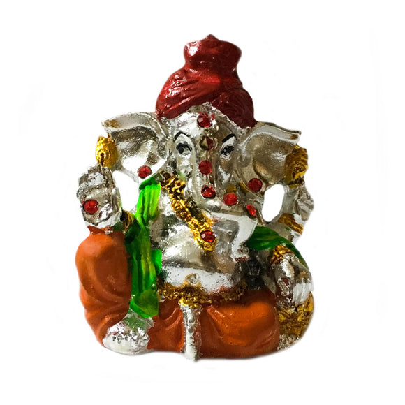 Ganpati Bappa Moriya Statue Silver Plated Ganesha Idol in Floroscent Colours
