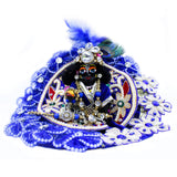 Blue embroidery Ladoo Gopal Shringar set with Peacock Feather Kalgi|