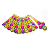Devi Dress Lehenga Patka Peacock Embroided | Combination of Mala and Bangles