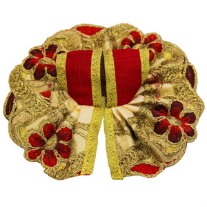 Golden Silk Embroidery Laddu Gopal Dress