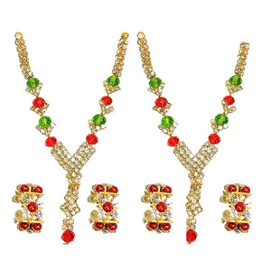 Radha Krishna Jewellery Set | pair of 2 Diamond Red Green Necklace and Pearl Bangles