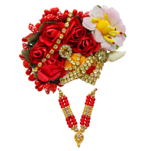 ISKCON Style Mukut Crown for God with Necklace