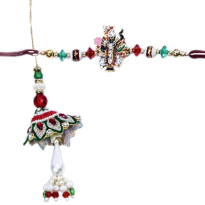Rakhi for Brother And Bhabhi (With Roli & Rice)