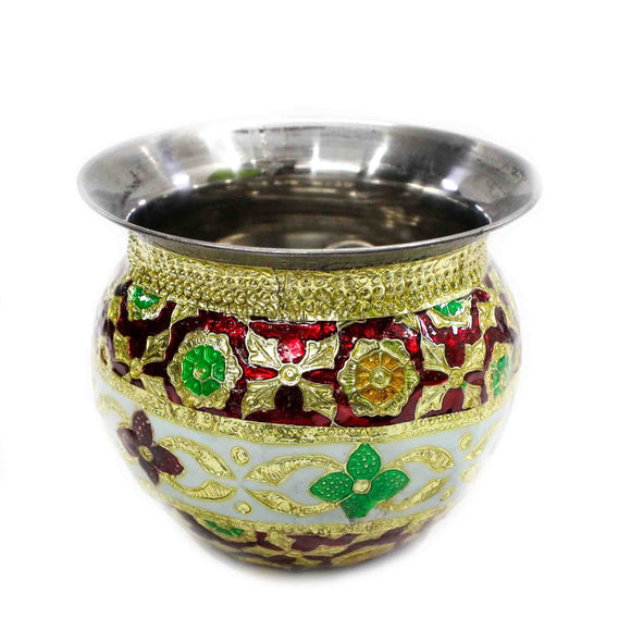 Decorative Kalash for Pooja Meenakari work Indian Handmade Lota