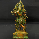Pure Brass Krishna With Flute Big Size Magnificient Pure Brass Krishna deity (33 cm height)