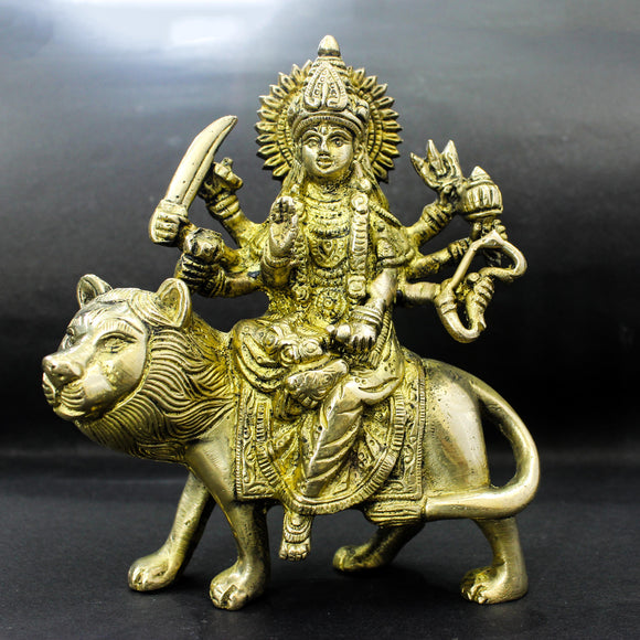 Durga in Pure Brass Deity | Sherawali Maa idol | Sculpture Brass