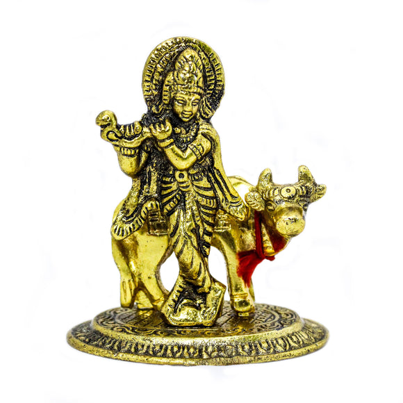 Krishna with Cow Gold plated metal (10.5 cm high)