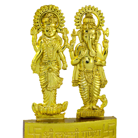 Ganesh & Laxmi Gold plated (10.5 cm high)