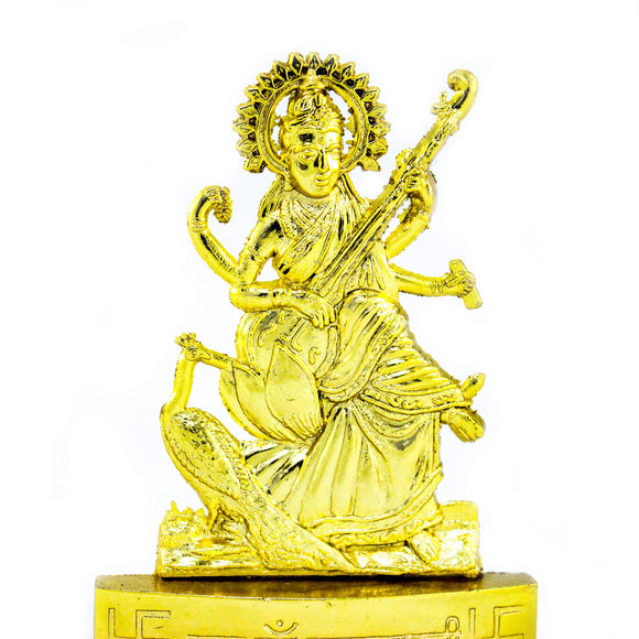 Gold Plated Saraswati (10 cm high)