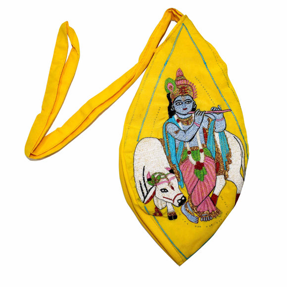 Krishna with cow full Embroidery Chanting bag