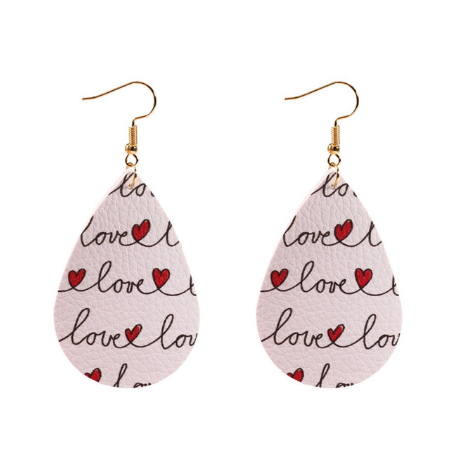 Love Pattern Leather Earrings