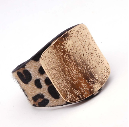 Leopard Charm Leather Bracelet