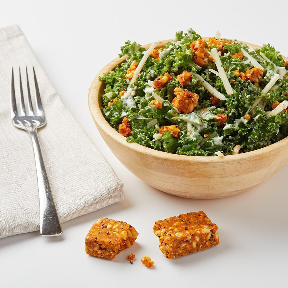Kale Caesar Salad with ZENB Carrot Veggie Sticks
