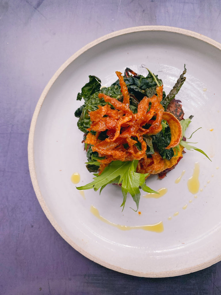 Waste-Free Fritters with Roasted Root Houmous, Kale and Vegetable Crackling