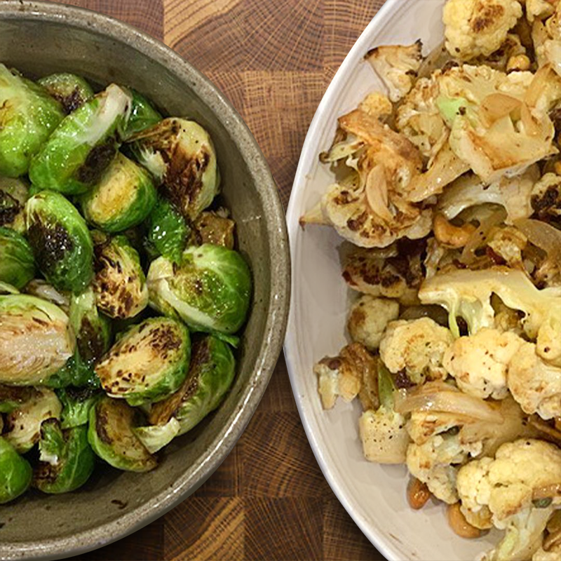 One Cupboard. Two Recipes: Pan Roasted Brussels Sprouts & Cauliflower Caponata with Chef Erling Wu-Bower
