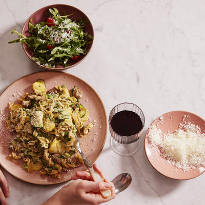 Gizzi Erskine's Fennel Sausage, Courgette, Pea and Wild Garlic Fusilli