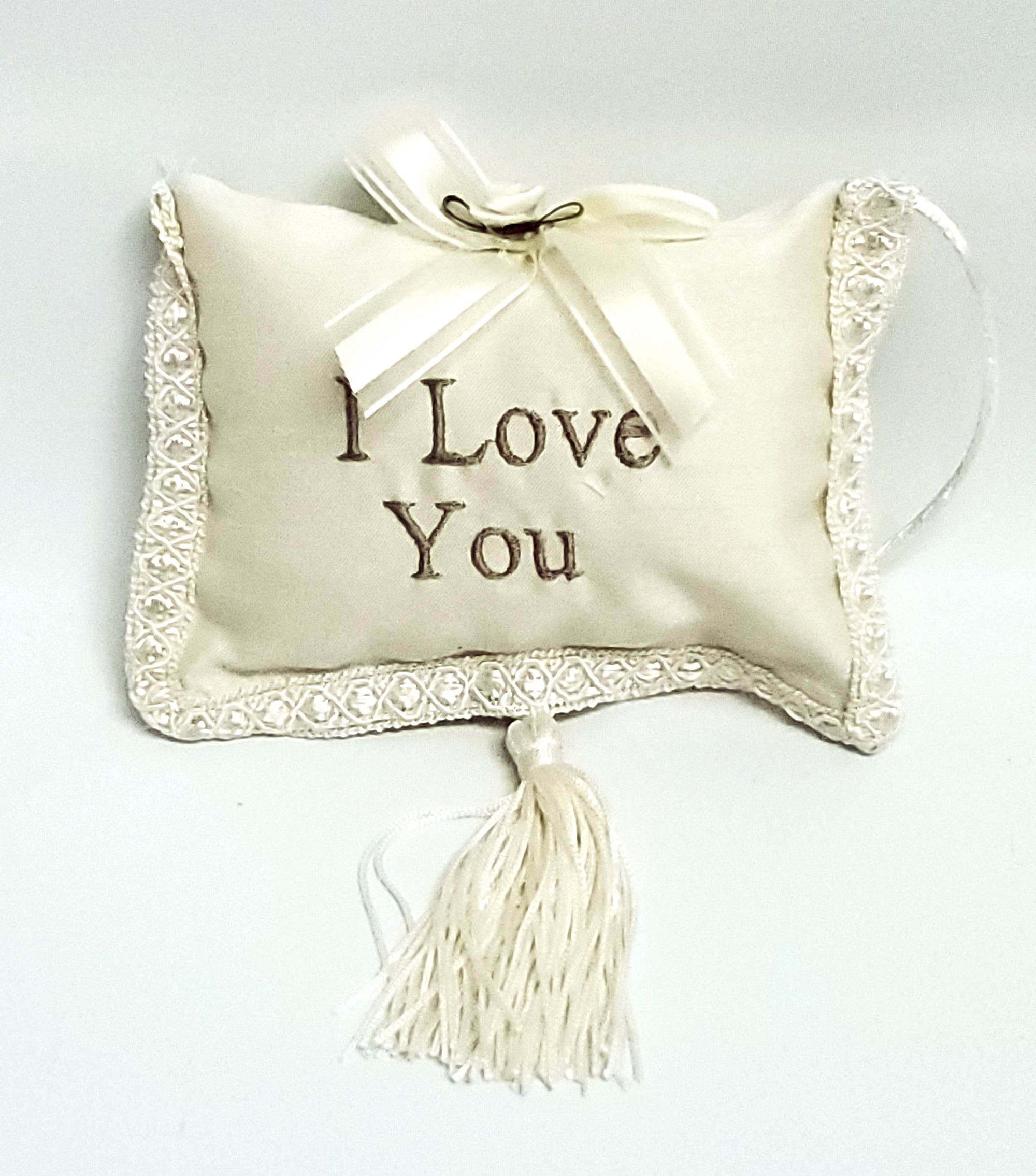 I Love You  Pillow with Tassel