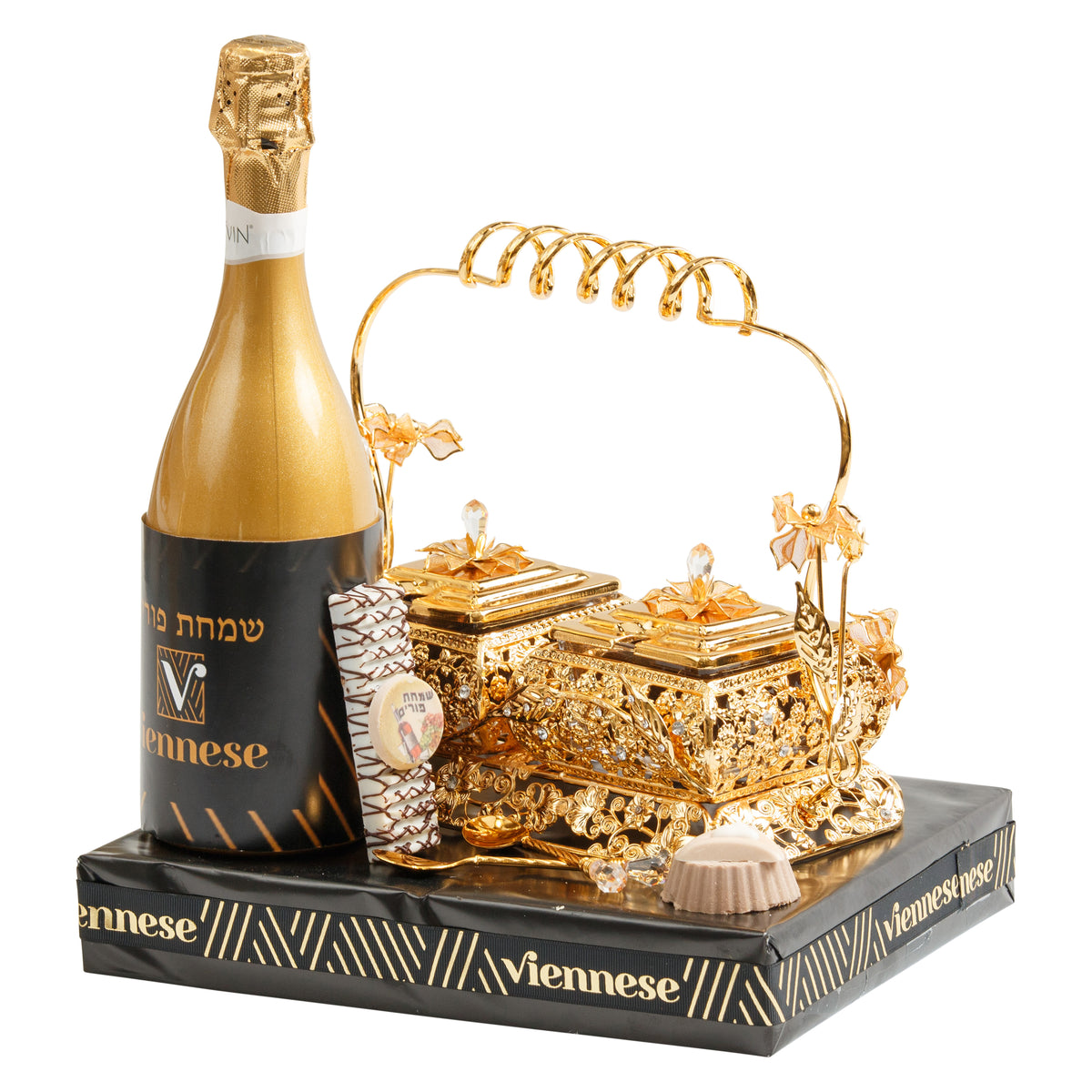 Purim Dipped In Gold Gift Basket Mishloach Manos