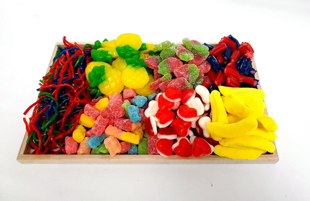Viennese Candy Gummy Wood Party Platter
