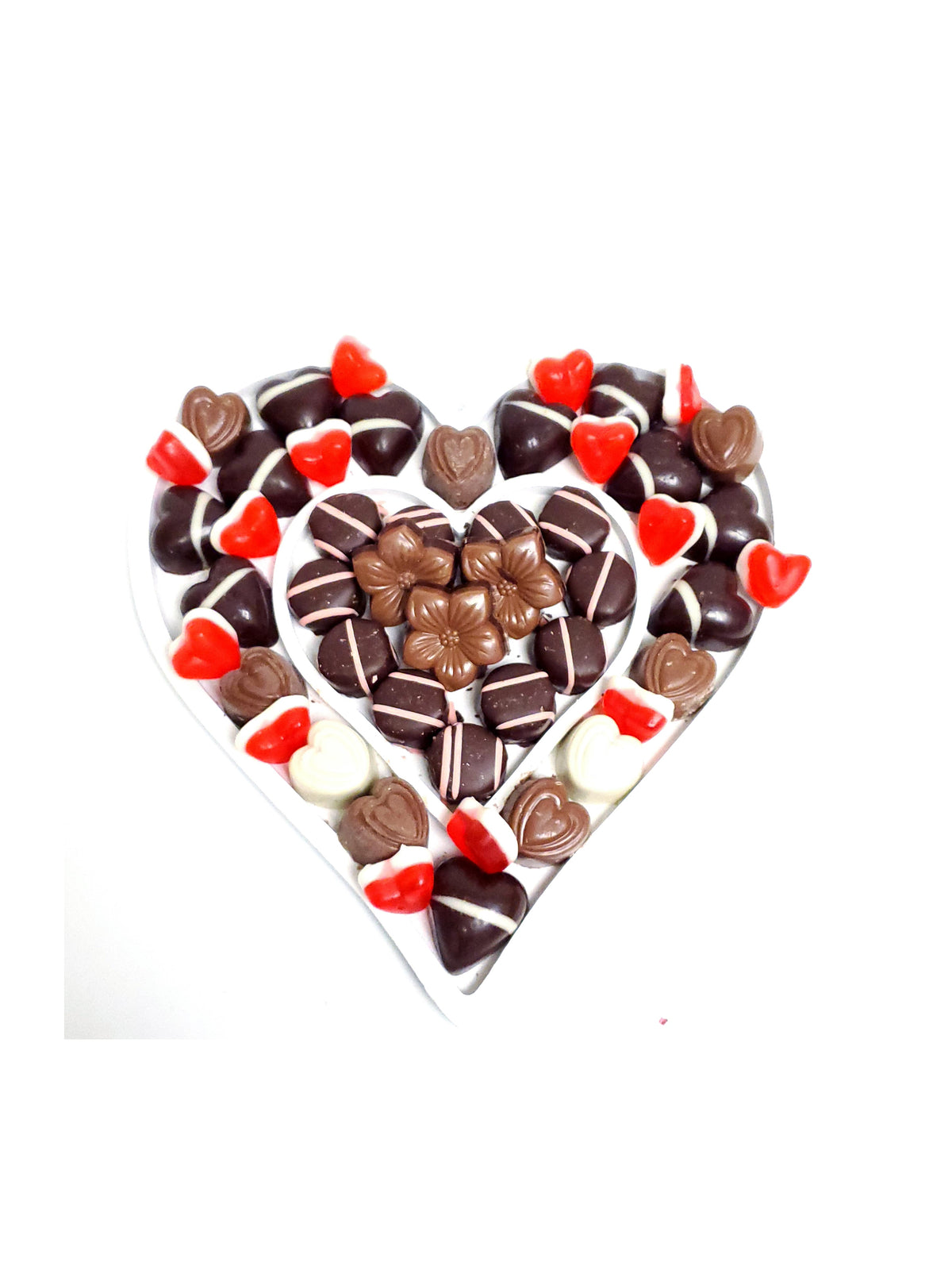 Heart Chocolate Candy Platter Wood Gift