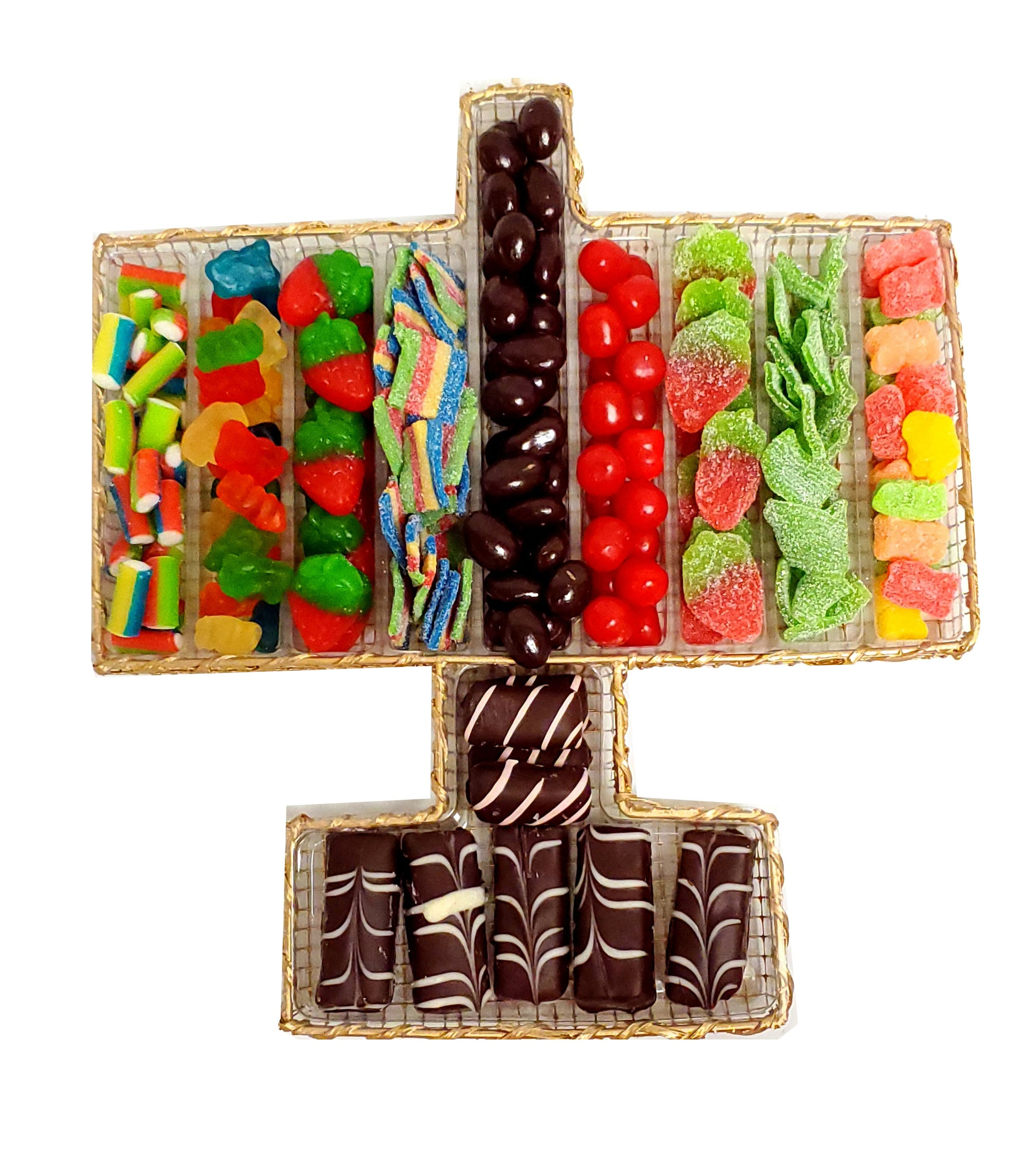 Chanukah Menorah Filled With Candy & Hand Made Non-Dairy Chocolate