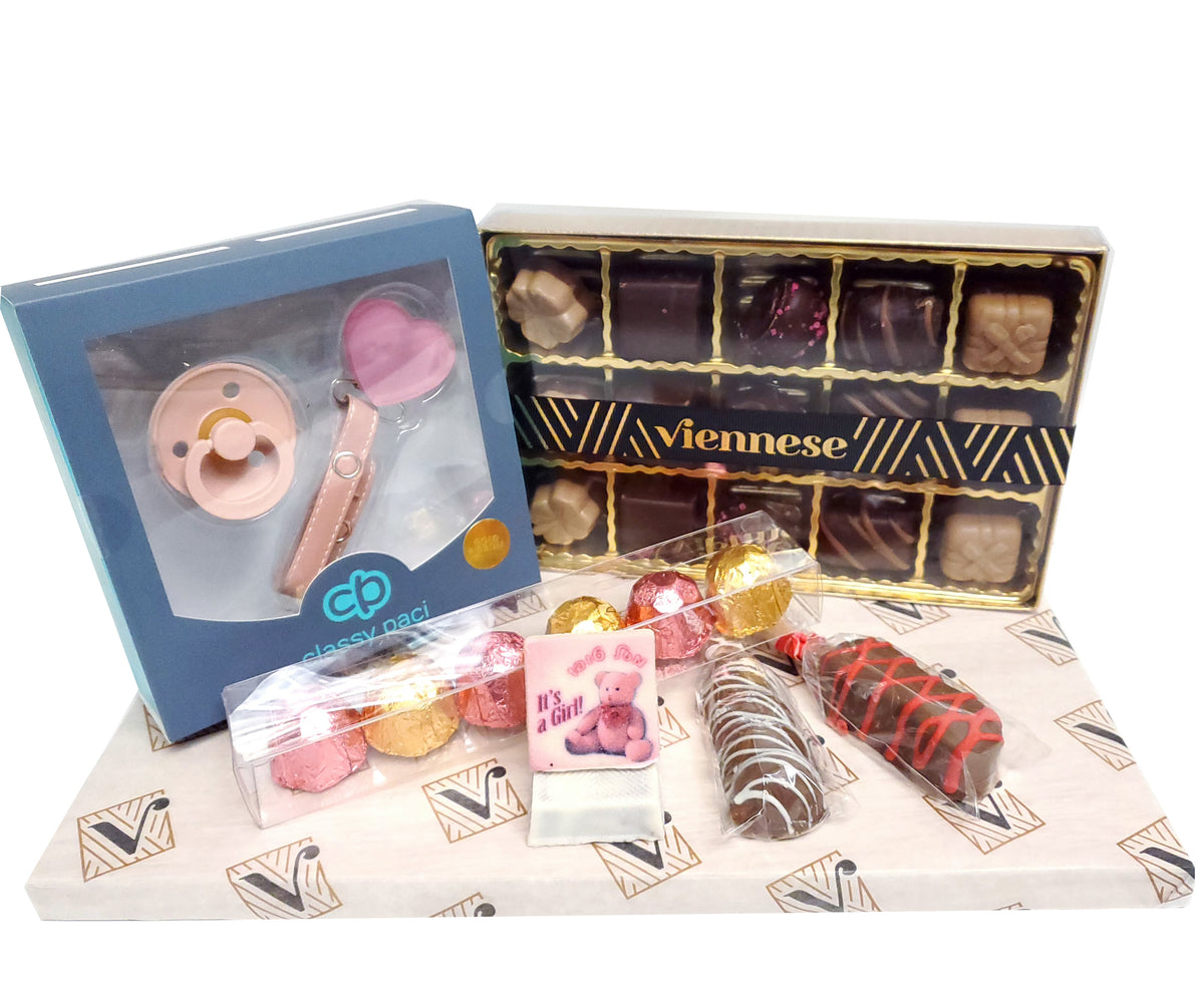 Its a Girl Gift Arrangement with Paci gift Set