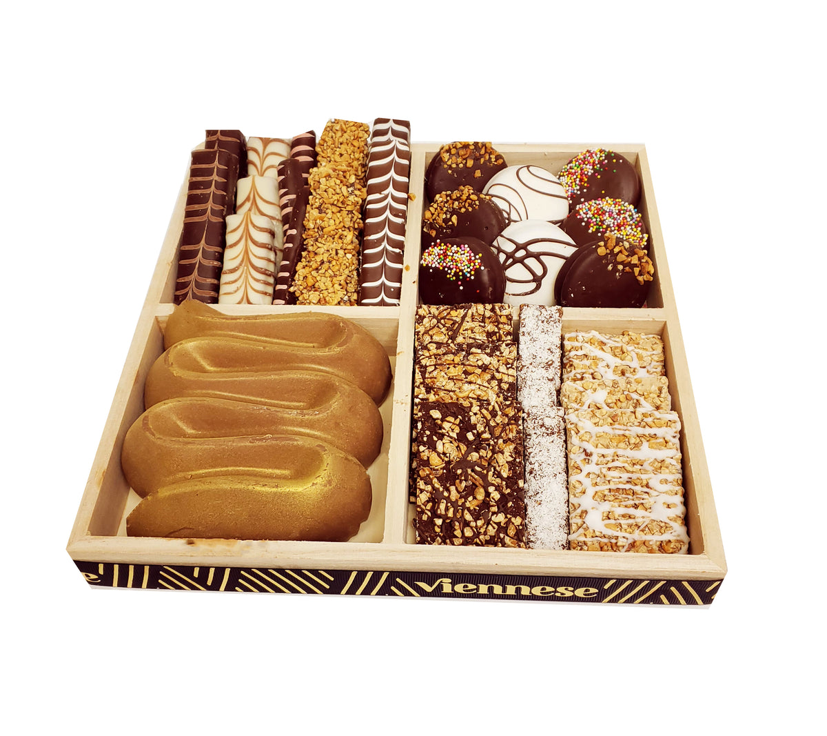 Mega Praline Chocolate Wood 4 Sectional Platter