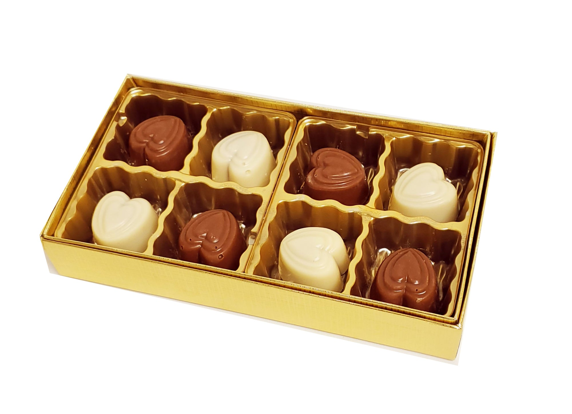 Gold Heart Chocolate Gift Box 8pc Pareve