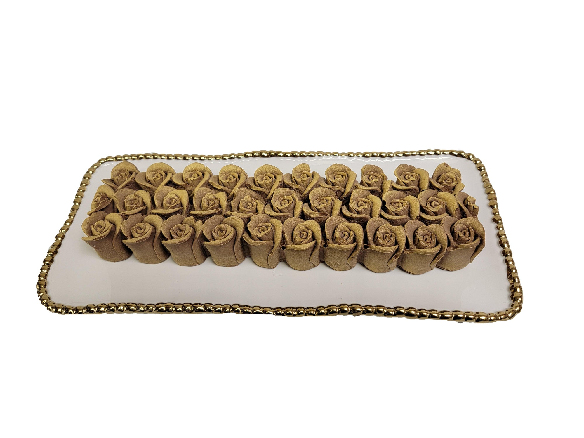 Praline Chocolate Rose Log on Tray