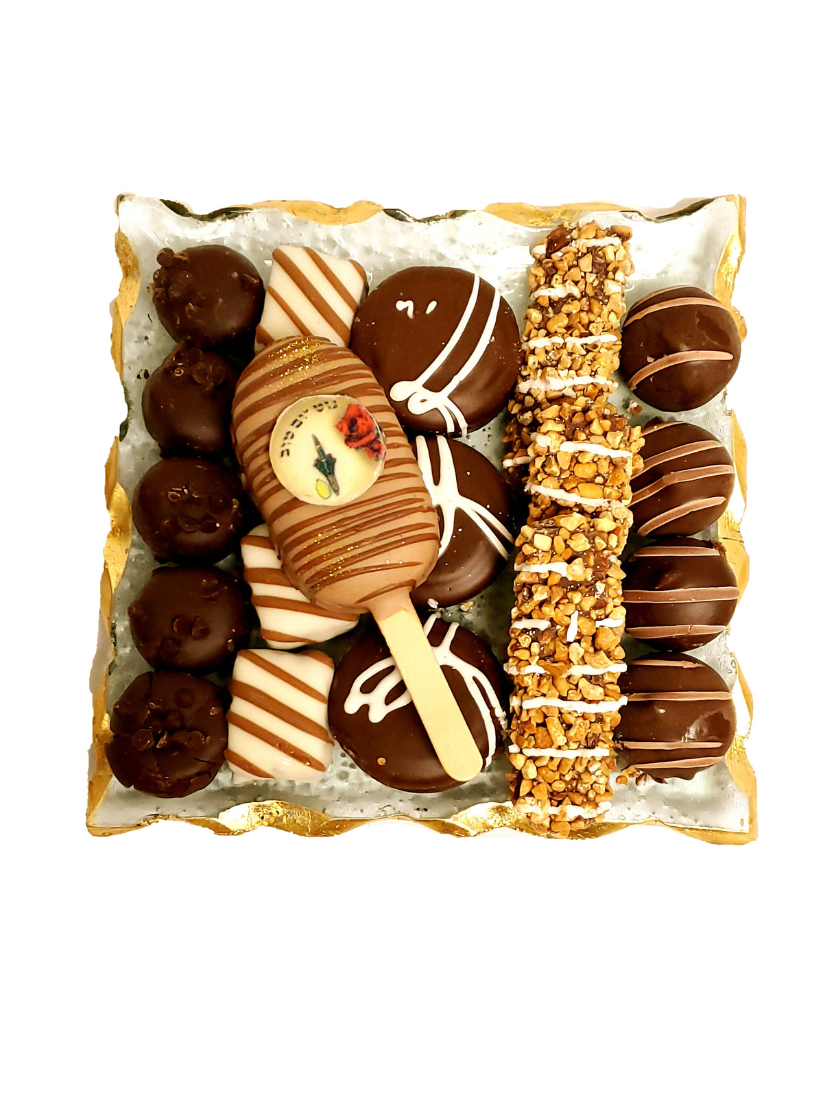 Sukkot Chocolate Gift Platter-Glass with Gold Trim