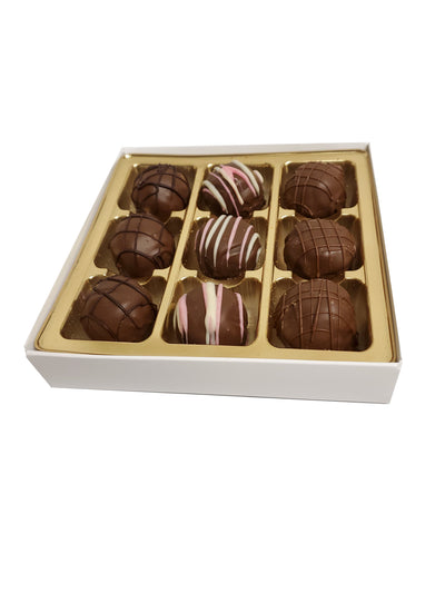 """Happy Holidays"" Chocolate Truffle Gift Box 9pc Dairy"