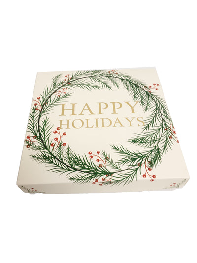 """Happy Holidays"" Chocolate Truffle Gift Box 16pc & logo Cookie"