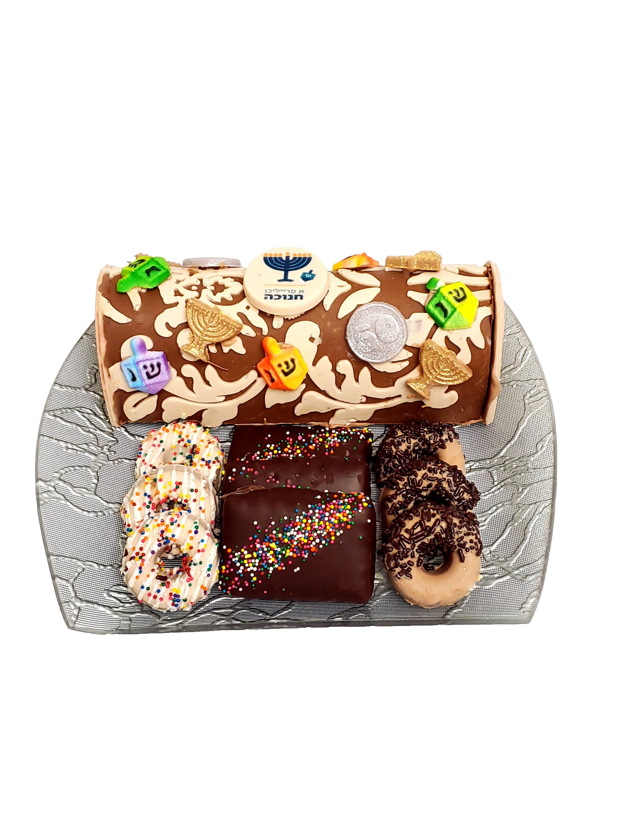 Chanukah Chocolate Log Gift Platter