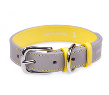 Load image into Gallery viewer, grey and yellow Luxury Leather Dog collar