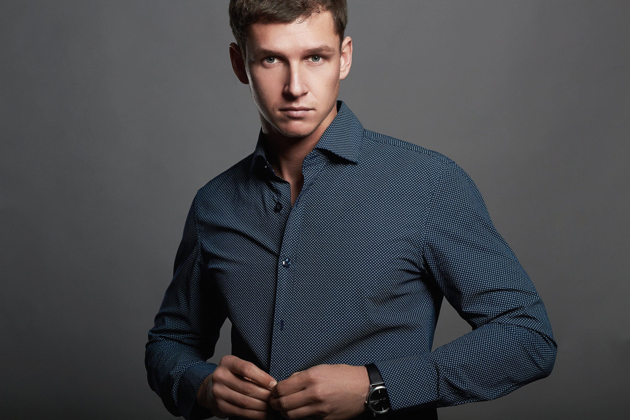 Man wearing shirt alterations from Tad More Tailoring