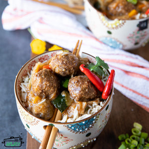 Chinese meatballs with rice