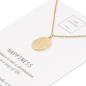 Necklace with elephant and happiness card