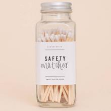 Load image into Gallery viewer, Sweet Water Decor - White Safety Matches - Glass Jar - 60 Count