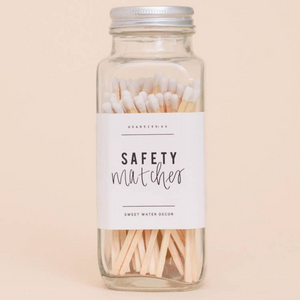 Sweet Water Decor - White Safety Matches - Glass Jar - 60 Count